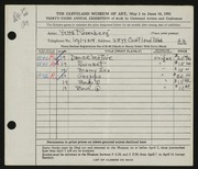 Entry card for Rosenberg, Yetta for the 1951 May Show.