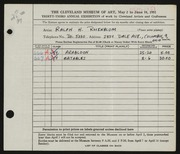 Entry card for Rosenblum, Ralph H. for the 1951 May Show.