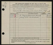 Entry card for Samolar, Esther R. for the 1951 May Show.
