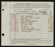 Entry card for Scheele, Carl H. for the 1951 May Show.