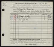 Entry card for Scheele, William E. for the 1951 May Show.