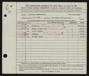 Entry card for Schmeckebier, Laurence Eli for the 1951 May Show.
