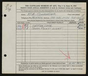 Entry card for Schroeder, Richard E. for the 1951 May Show.