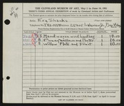 Entry card for Shanks, Eva for the 1951 May Show.