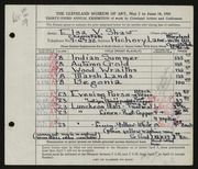 Entry card for Shaw, Elsa Vick for the 1951 May Show.