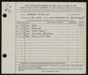 Entry card for Sietman, Herbert E., Jr. for the 1951 May Show.