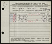 Entry card for Simonsen, Marian for the 1951 May Show.