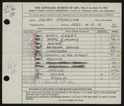 Entry card for Stanczak, Julian for the 1951 May Show.