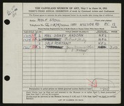 Entry card for Stoll, Rolf for the 1951 May Show.