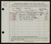 Entry card for Takatch, Robert for the 1951 May Show.