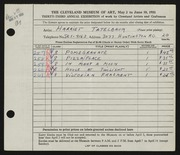 Entry card for Tatelbaum, Harriet for the 1951 May Show.