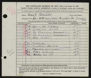 Entry card for Trauger, John F. for the 1951 May Show.