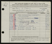 Entry card for Travis, Paul Bough for the 1951 May Show.