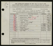 Entry card for Vaiksnoras, Anthony for the 1951 May Show.