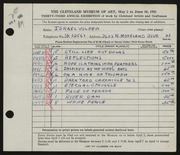 Entry card for Volper, Israel for the 1951 May Show.