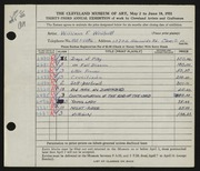 Entry card for Whitsett, William F. for the 1951 May Show.