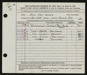 Entry card for Widen, Ross E. for the 1951 May Show.