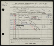 Entry card for Wilkens, Lillian M. for the 1951 May Show.