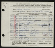 Entry card for Williams, Katherine for the 1951 May Show.