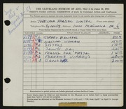 Entry card for Winter, Thelma Frazier for the 1951 May Show.