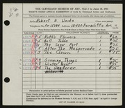 Entry card for Woide, Robert E. for the 1951 May Show.