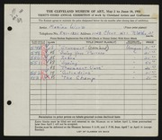 Entry card for Wood, Marian for the 1951 May Show.