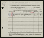 Entry card for Wooddell, Joseph M. for the 1951 May Show.
