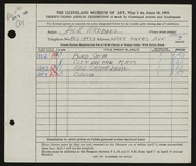 Entry card for Wrobbel, John Paul for the 1951 May Show.