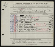 Entry card for Yarlekovic, Emma for the 1951 May Show.