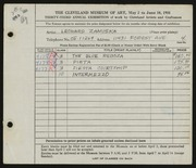 Entry card for Zamiska, Leonard for the 1951 May Show.