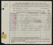 Entry card for Zapp, M. for the 1951 May Show.