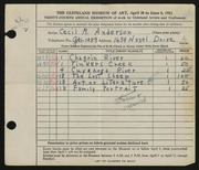 Entry card for Anderson, Cecil M. for the 1952 May Show.