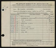 Entry card for Andres, Richard for the 1952 May Show.