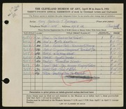 Entry card for Andrews, Mary Adelaide Fulton for the 1952 May Show.