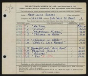 Entry card for Babjak, Mary Louise for the 1952 May Show.