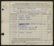 Entry card for Bachtel, Clayton J. for the 1952 May Show.