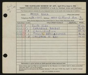 Entry card for Baka, Peter for the 1952 May Show.