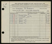 Entry card for Barnes, Virginia R. for the 1952 May Show.