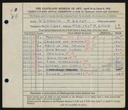Entry card for Bates, Kenneth F. for the 1952 May Show.