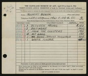 Entry card for Bidner, Robert for the 1952 May Show.
