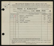 Entry card for Bjerstedt, Francis A. for the 1952 May Show.