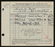 Entry card for Blum, Helaine Dorothy for the 1952 May Show.
