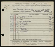 Entry card for Brucker, Edmund for the 1952 May Show.