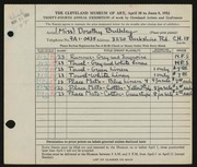 Entry card for Bulkley, Dorothy for the 1952 May Show.