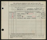 Entry card for Bulone, Joseph  for the 1952 May Show.
