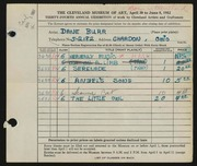 Entry card for Burr, Dane for the 1952 May Show.