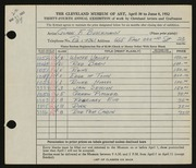 Entry card for Buschmann, Gladys F. for the 1952 May Show.