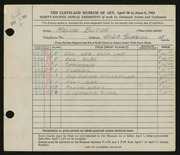 Entry card for Butor, Melvin F. for the 1952 May Show.