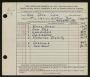 Entry card for Cass, Katherine Dorn for the 1952 May Show.