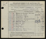 Entry card for Chamberlin, Price Albert for the 1952 May Show.